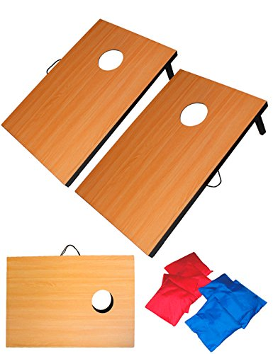 Fun Sports 3ft x 2ft Wooden CornHole Set with 8 Regulation Size Bean Bags and Carrying Case - Bean Bag Toss Game set Model 3091