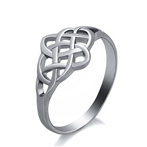 Elfasio Womens ring Irish Pattern Classic Celtic Knot stainless steel Jewelry Size 10 (Celtic Knot Ring Classic)