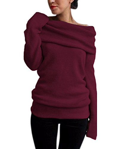 StyleDome Off The Shoulder Pullover Sweater Sexy Slim Knitwear Long Sleeves Tops for Women Wine Red M ()