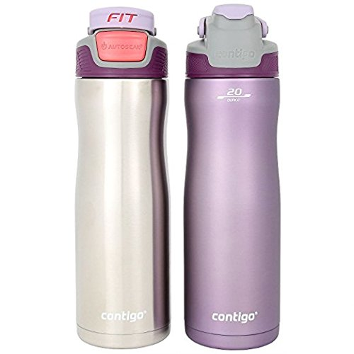 Contigo Autoseal Fit Trainer Water Bottles, 20oz - Stainless Steel & Spring Purple (2 Pack)
