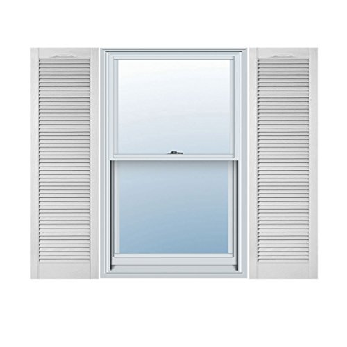 Ekena Millwork LL5C18X05900WH Lifetime Vinyl, Custom Cathedral Top All Louver, Open Louver Shutters, w/ Shutter-Loks (Per Pair), 18'' W x 59'' H, White by Ekena Millwork