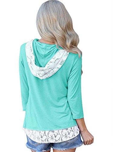 Capuchon Dentelle Shirt Longues S Violet Solide Vert Creuse Manches Vert Mode Huateng T Couleur Dames Slim Loisirs Chemise XL wYnC41qF