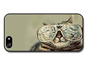 AMAF ? Accessories Funny Fat Cat With Glasses case for iphone 5c