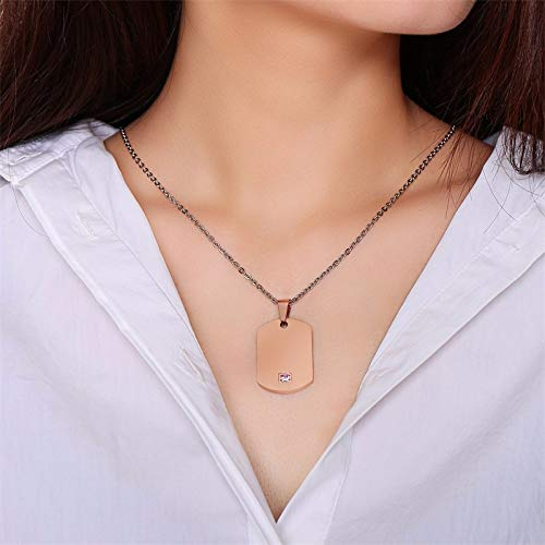 Unlimit-X Dog Necklace - Vnox Free Personalized Engrave Couple Necklaces for Women Men 585 Rose Gold Tone Stainless Steel Dog Tag CZ Stone Custom Gift