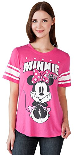 Disney Adult Junior Fashion Football Tee Minnie Mouse 28 Pink (Adult T-shirt Top Tee)