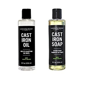 Caron Doucet – Cast Iron Care Bundle – Cast Iron Oil & Cast Iron Soap – 100% Plant Based Formulation – Helps Maintain Seasoning on All Cast Iron Cookware.