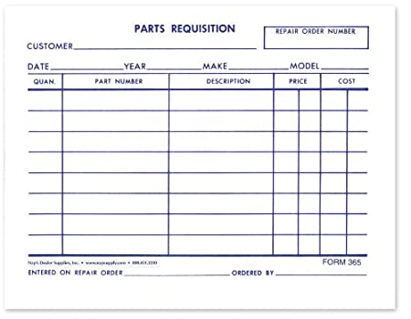 Amazon Parts Requisition Short Form Pack Of 1 000 Other