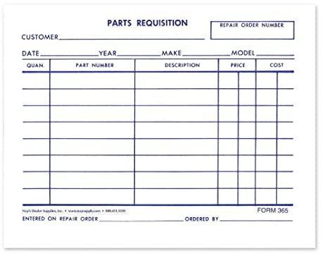AmazonCom  Parts Requisition Short Form  Pack Of    Other