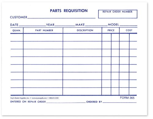 Amazon.Com : Parts Requisition Short Form - Pack Of 1, 000 : Other