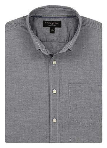 Banana Republic - Men's - Slim-Fit Untucked Oxford (Multiple Color/Size Options) (Medium, Washed Navy) Banana Republic Long Sleeve Shirt