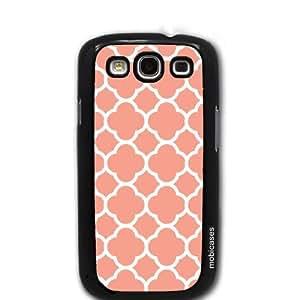 Quatrefoil Pattern - Coral - Protective Designer BLACK Case - Fits Samsung Galaxy S3 SIII i9300
