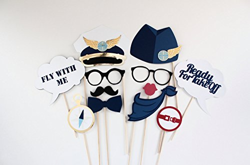Airplane Photo Booth Props - 12 Pc Pilot, Aviation, Panam Inspired Party Prop - Creating A Photo A For Party Booth