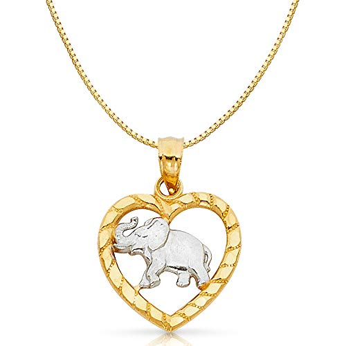 14K Two Tone Gold Elephant Heart Charm Pendant with 0.8mm Box Chain Necklace - 20