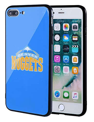 The Mass iPhone 8 Plus case, iPhone 7 Plus case, NBA Team Logo on Tempered Glass Back Cover and Soft TPU Frame for iPhone 8 Plus/7 Plus (Denver Nuggets)