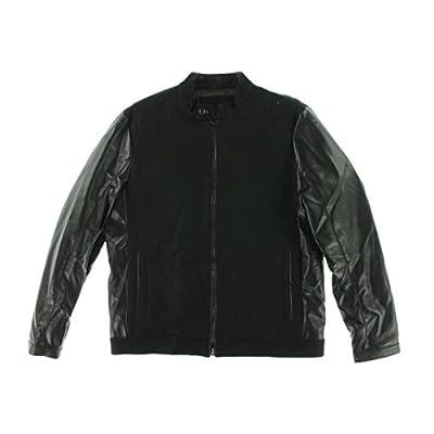 Calvin Klein Men's Faux-Leather Wool-Blend Varsity Jacket