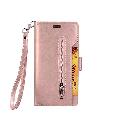 iPhone 7 Wallet Case, iPhone 8 Wallet Case, SOGOLA [NEW] [9 Card slots] [photo & wallet pocket] Multi-function Premium PU Leather Magnetic Flip Shockproof Zipper Wallet for iPhone 7/8 (Rose - Zipper Rose