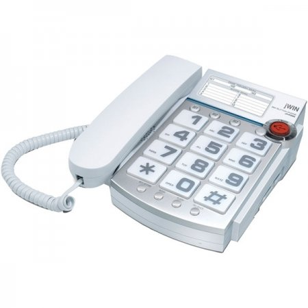 jWIN JTP390WHT Big Button Corded Speakerphone with 13 Number Memory (White)