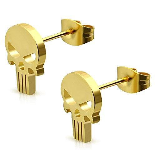 Gold Plated Stainless Steel Punisher Skull Cut-Out Button Stud Post -