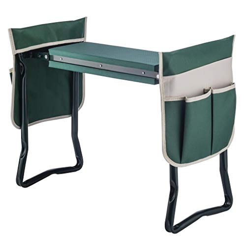 4-EVER Garden Kneeler Seat Multiuse Foldable Garden Bench with 2 Large Tool Pouch EVA Foam Pad - 2 in 1 Design, Sturdy Build Gardeners Foldable Kneeler, Protect Your Knees and Clothes