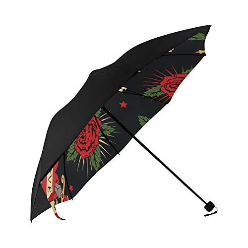 (Heart Bones Human Organs Bones Retro Compact Travel Umbrella Sun Parasol Anti Uv Foldable Umbrellas(underside Printing) As Best Present For Women Sun Uv Protection)