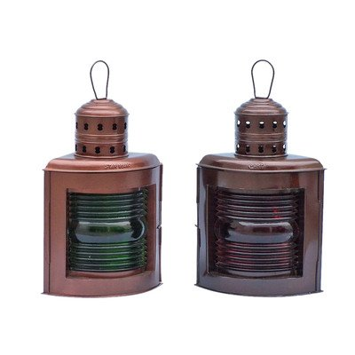 Port and Starboard Oil Lamp (Set of 2) Size: 17″ H x 9.5″ W x 7.5″ D, Finish: Antique Copper