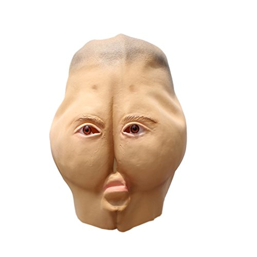 AMOSFUN Costume Party Creepy Mask Head Masks Trick Props Accessory for Halloween Haunted House (Ivory)