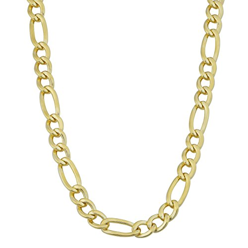 Kooljewelry Mens 14K Yellow Gold Filled Solid 5.2mm High Polish Figaro Chain Necklace (18, 20, 22, 24 30 inch)