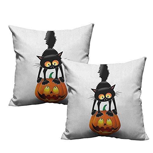 warmfamily Creative Pillowcase Halloween Black Cat on Pumpkin Drawing Spooky Cartoon Characters Halloween Humor Art with Hidden Zipper W14 xL14 2 -