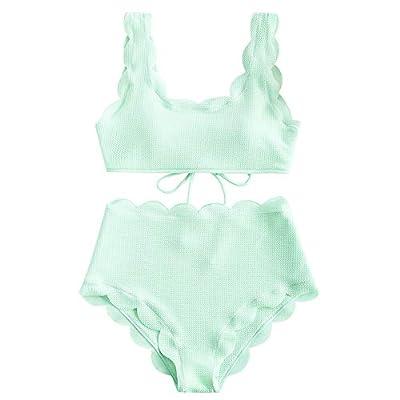 ZAFUL Women's Scalloped Textured Swimwear High Waisted Wide Strap Adjustable Back Lace-up Bikini Set Swimsuit