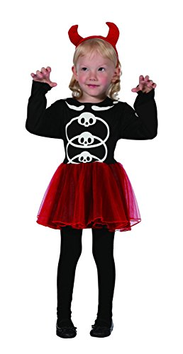 Devil Costume 2-3 Years (Glossy Look Little Girls' Devil Halloween Fancy Dress Party Costume 2-4 Years Red)