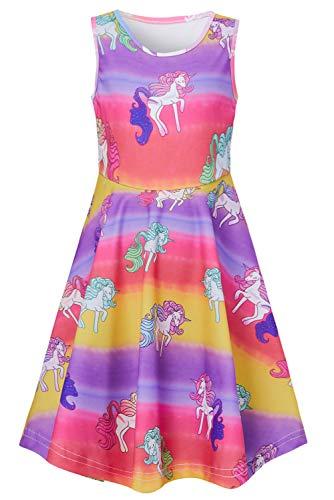 RAISEVERN Toddler Girl's Colorful Unicorn Dress Sleeveless Sundress Cute Round Neck Rainbow Dresses Summer Holiday Beachwear for Child 4-5T -