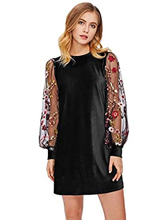 DIDK Women's Velvet Tunic Dress with Embroidered Floral Mesh Bishop Sleeve Black XS