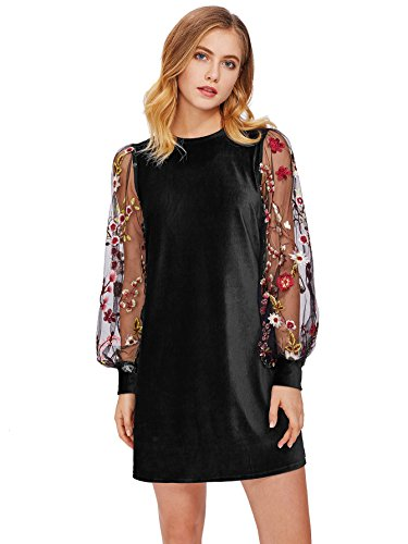 DIDK Women's Velvet Tunic Dress with Embroidered Floral Mesh Bishop Sleeve Black -