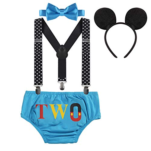 Baby Boys Mickey Costume 2nd Birthday Party Cake Smash Outfits Photo Prop Clothes Suspenders Bloomers Bowtie Mouse Ear #21 Blue Two 12-18 Months ()