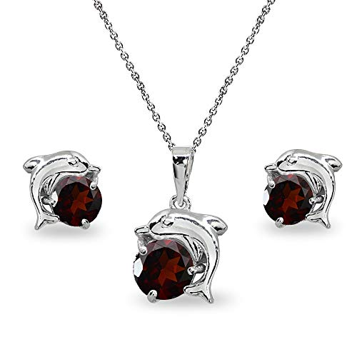 Sterling Silver Garnet Round-Cut Dolphin Animal Dainty Pendant Necklace & Stud Earrings Set ()