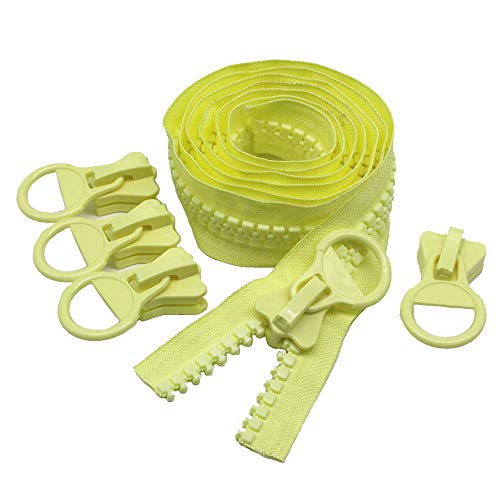 (YaHoGa #20 Super Large Plastic Zipper Yellow Heavy Duty Zippers by The Yard Bulk 2 Yards with 5pcs Sliders for DIY Sewing Tailor Crafts Bags Tents Boat Cover Canvas (Yellow 2 Yards))