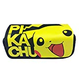 Pikachu Canvas Double Layer High Capacity Zipper Pencil Case Stationery Box for Student