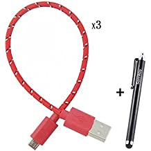 NewSilkRoad 3PCS 25CM 1 IN Colorful Ruggedized Braided Durable Short USB Cable Charger For Android Devices +1Pcs Free Black Stylus (Red)