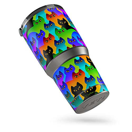 Rainbow Cats Protector Skin Sticker Compatible with Yeti Rambler 30 oz Tumbler - Ultra Thin Protective Vinyl Decal wrap ()