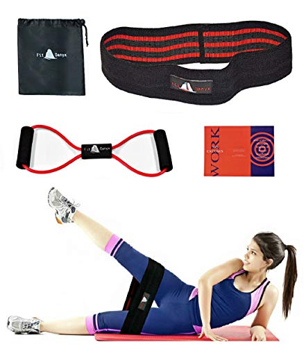 FitDanyx Hip Cloth Resistance Bands Legs Butt, Hips Glute Band Exercise, Non-Slip Design Bands Men Women, Toner Resistance Band Exercise Cords Included Full Body Workout
