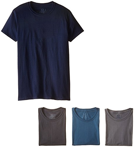 Fruit of the Loom Men's Stay Tucked Crew T-Shirt, (XX-Large, Assorted Blue/Grey) (Pack of 4) ()
