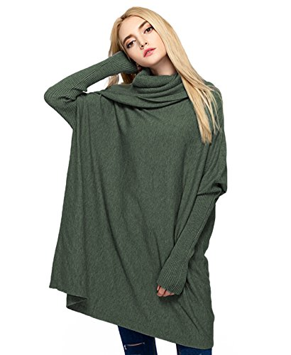 MML Womens Cowl Neck Long Sleeve Loose Knit Top Cable Pullover Sweaters (One Size, Green)