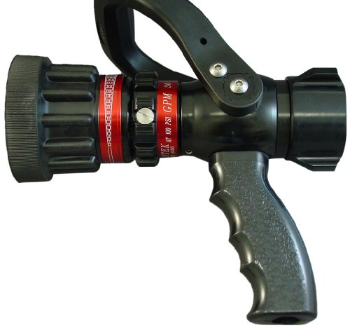 Moon 512P-10214 Aluminum Fire Hose Nozzle, Pistol-Grip, 13 to 60 gpm, 1'' NH by Moon
