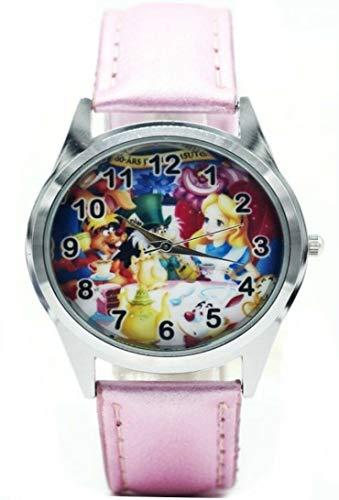 (Cartoon Alice in Wonderland Pink Leather Band Wrist Watch)