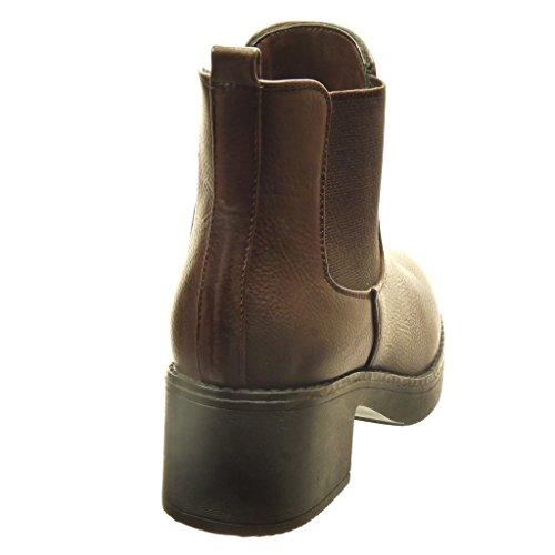 Angkorly - Zapatillas de Moda Botines chelsea boots zapatillas de plataforma mujer Talón Tacón ancho alto 5 CM - Marrón