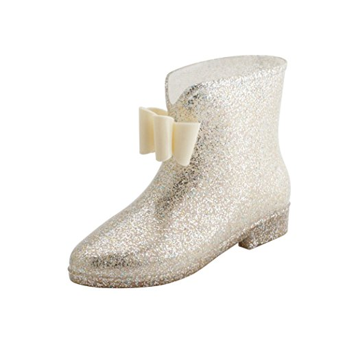 Bow Ankle Boot (AlwaysU Womens Ladies Rain and Garden Boots Wellies Jelly Bow Rubber Ankle Rainboots Waterproof Color Gold Size 7)