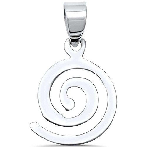Spiral Pendant Sterling Silver - Sterling Silver Plain Spiral Design Charm Pendant
