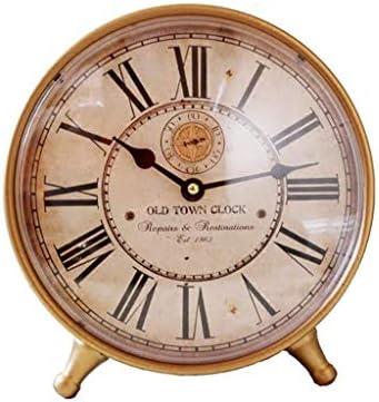 デスク時計レトロノスタルジック錬鉄クリエイティブリビングルームの寝室サイレントローマデジタル時計