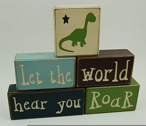 Let The World Hear You Roar - Primitive Country Wood Stacking Sign Blocks Dinosaur Decor Children's Room Birthday Baby Shower Centerpiece Nursery Room Decor by Blocks Upon A Shelf (Image #1)