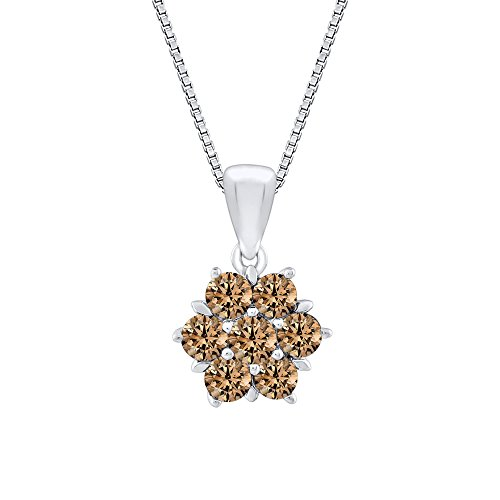 Brown Diamond Floral Pendant Necklace in 14K White Gold (3/4 cttw) (Color GH, Clarity ()